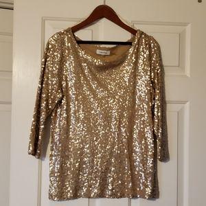 Calvin Klein Tops - Calvin Klein Gold Sequin Shirt